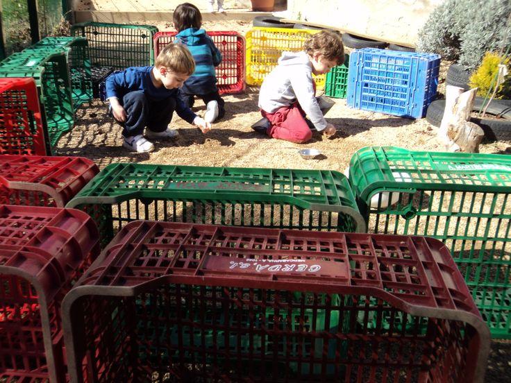 jocs amb caixes al jardí de la llar d'infants les baldufes.Olot