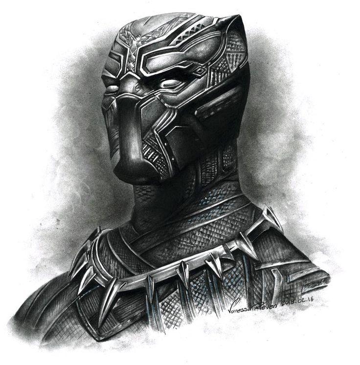 original black panther bleistiftzeichnung  chiku  black