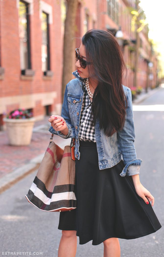 Women's street fashion | Painted Threads skirt, Crewcits gingham shirt, Burberry bucket bag, Kate Spade pumps, H&M jacket | ExtraPetite.com