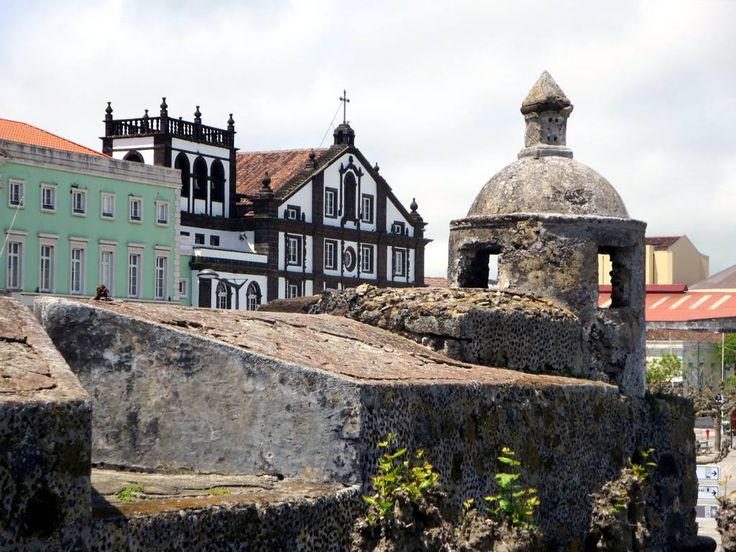 The 18th century Igreja de Sao Jose in Ponta Delgada on Sao Miguel Island, Azores, as seen from the Forte de Sao Bras.