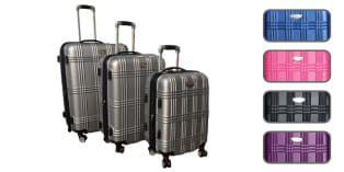 """Stilvoll reisen - Robuster Koffer von BOVANO®️ Kofferset """"Island"""". Hartschalenkoffer in Silber, Blau, Pink, Schwarz oder Lila. Trolley mit vier Rollen für bequeme Reise."""
