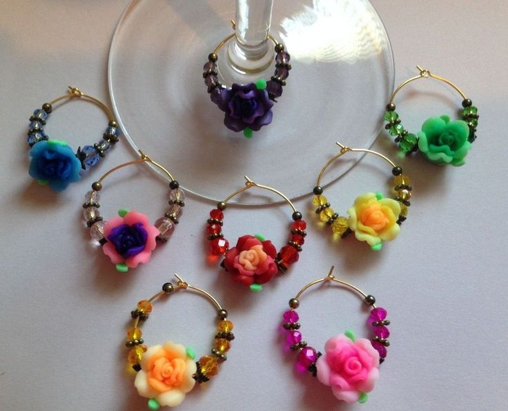 polymer clay flower wine glass charms bronze and gold tone antique style set 8 #Handmade