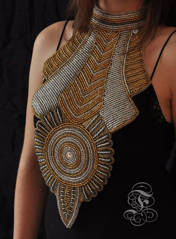 "Big Bead Embroidered Statement Neck piece ""Gold & Silver"""