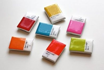 DIY magnets. Great way to use paint colors samples!