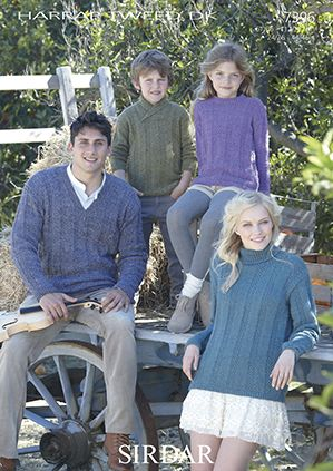 Sirdar 7396 Family Sweaters in Sirdar Harrap Tweed DK or equivalent. Uses Double Knitting #3 weight yarn. Sizes 4-6 years to adult x-large.