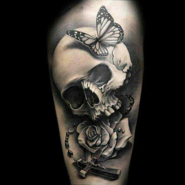 Rosary Skull With Butterfly