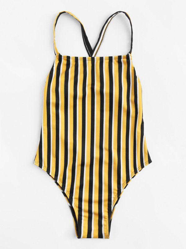 90e0640f87 Cross Back Low Back Swimsuit -SheIn(Sheinside) | Women's Swimwear ...
