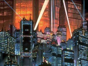 """AKIRA (1988) (dir. Katsuhiro Otomo) Neo-Tóquio, 2019. Esta cidade gigantesca é como uma forma de vida robô impossível, sensível em si mesma. Foi construída para substituir a """"velha"""" Tóquio que foi imolado em uma explosão enorme. Agora, a nova cidade é um lugar próspero e de alta tecnologia, um pouco anárquica e estranha, aparentemente à beira de quebrar, e incubar estranhas forças espirituais. As gangues de motociclistas lutam lá."""