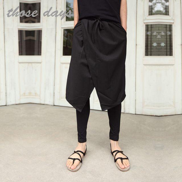 Primavera e no outono masculino calças falso duas peças culottes dança adolescente legging casuais calças pretas do punk saia calças