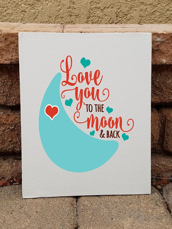 """Canvas art, """"Love you to the moon and back"""", Customized colors, Valentine's day, wedding or anniversary gift, home decor, wall art"""