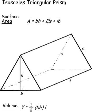 Surface Area and Volume Formulas for Geometric Shapes: Surface Area and Volume of a Isosceles Triangular Prism