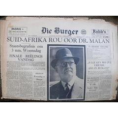 Die Burger :: Suid-Afrika rou oor dr. DF Malan :: 9 Februarie 1959 for R100.00