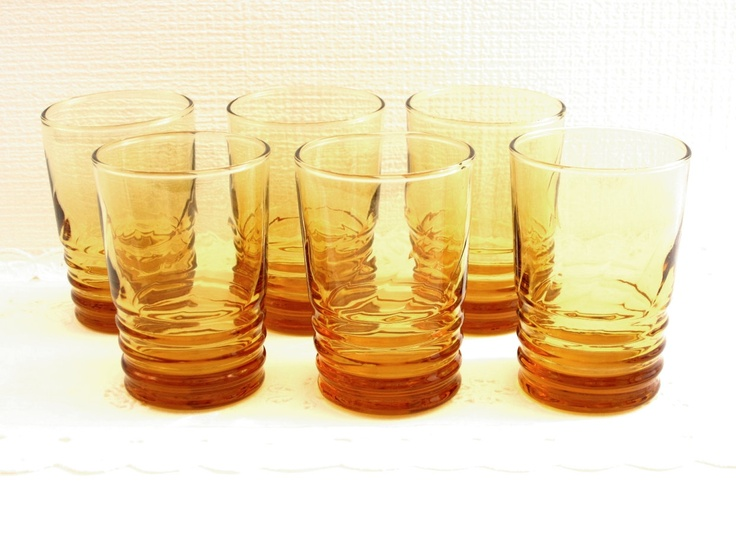 Vintage Amber Orange Juice Drinking Glasses Set of Six Restaurant Style
