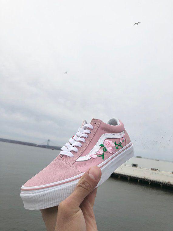 Pink Vans Old Skool Custom Vans Shoes Vans Old Skool Rose Vans Sneakers Vans Shoes For Women Ro Vans Shoes Women Pink Vans Custom Vans Shoes