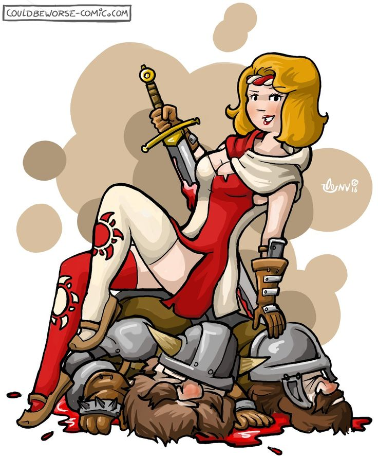 Larp group, Enfants Lumière pin up on top of dead dwarfs. Medieval fantasy Pinup  pin-up with sword. Couldbeworse-comic.com