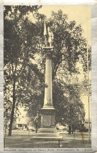 The monument in Tracy Park represents John R.T. Barnes, the first soldier from Scioto County to die in the Civil War, and is a memorial to all those who gave their life. It took 12 years to raise the $7,500 needed for the  monument, and it was  dedicated on May 30, 1879.