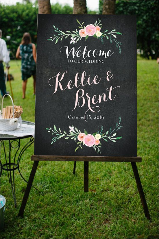 Wedding Welcome Sign PRINTABLE - Welcome to Our Wedding Chalkboard Floral Design - Blush Pink Flowers - Ceremony Welcome Poster -…
