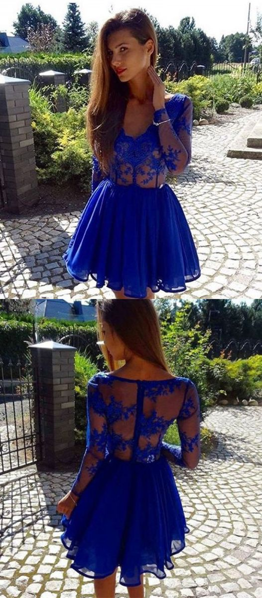 A-Line V-Neck Long Sleeves Royal Blue Homecoming Dress
