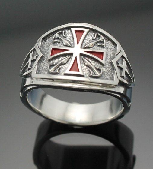 Estilo de la banda de puros 028 en plata de ley anillo Caballeros Templarios masónicos