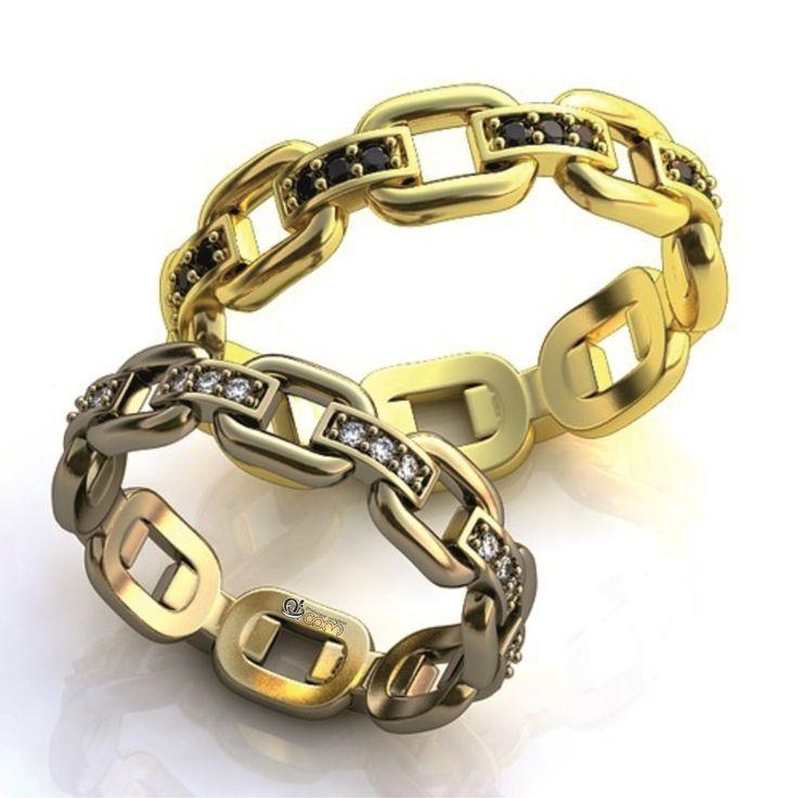 Un cuplu modern va fi fascinat de frumusetea acestei perechi de verighete aur…