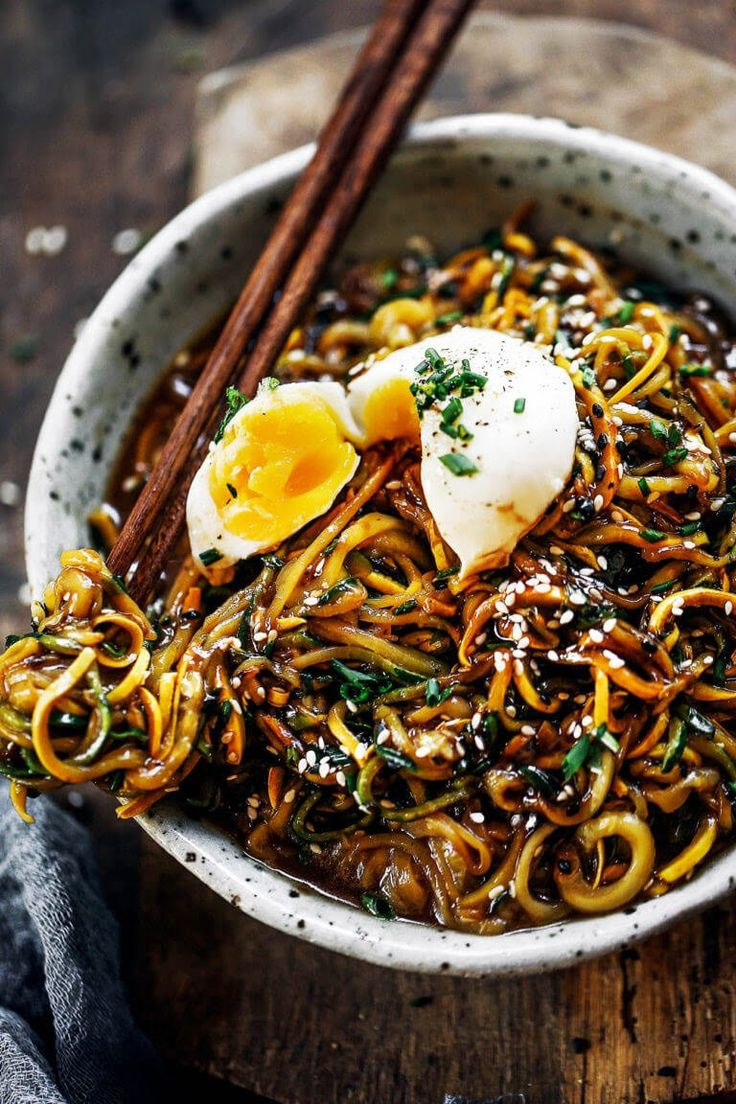 Balsamic Glazed Asian Zucchini Noodles