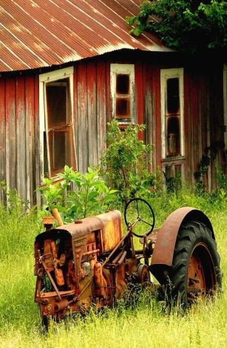♂ Aged with beauty Tractor In Front Of Old Barn #Abandoned  #Barn