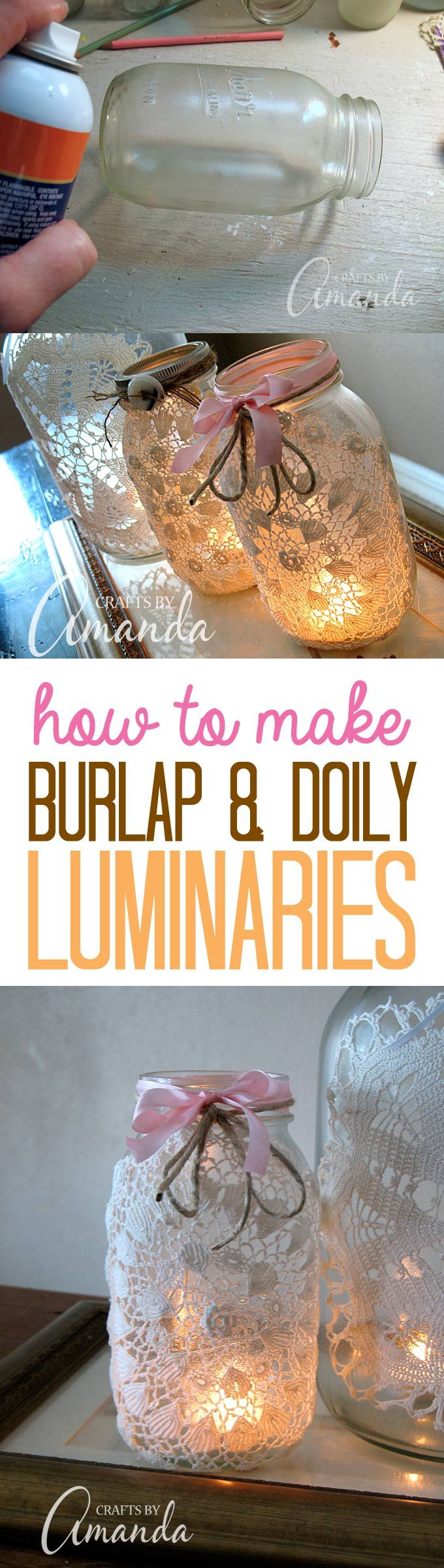 Make beautiful burlap & doily luminaries using recycled jars, doilies and a little burlap and twine. These doily luminaries are perfect for weddings, holidays, or just for some added beauty. Such an easy craft project!