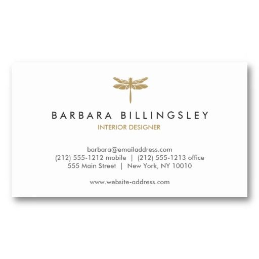 GOLD DRAGONFLY LOGO Customizable business card for interior designers