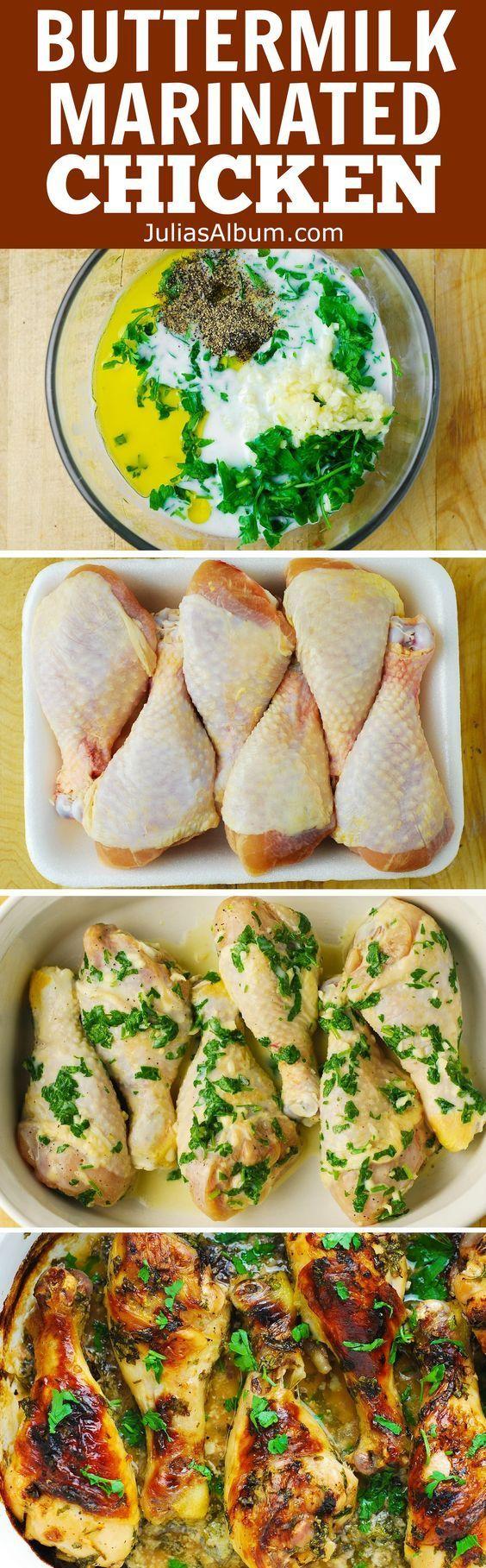 Buttermilk Roasted Chicken - super flavorful, moist, tenderized chicken! Healthier way to cook chicken drumsticks!