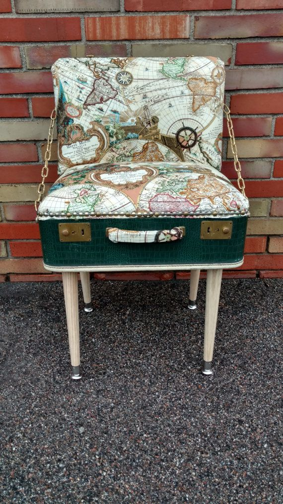 Suitcase Chair - Accent Chair - Pirate Theme - Map Print - Crocodlie Vinyl - Gold Accent - Green Chair