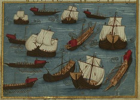 Ottoman fleet, led by Hüseyn Pasa, setting out from the Black Sea against the Polish army-Khamsa by Atai -1721