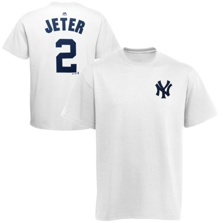 Majestic Derek Jeter New York Yankees White Official Name and Number T-Shirt