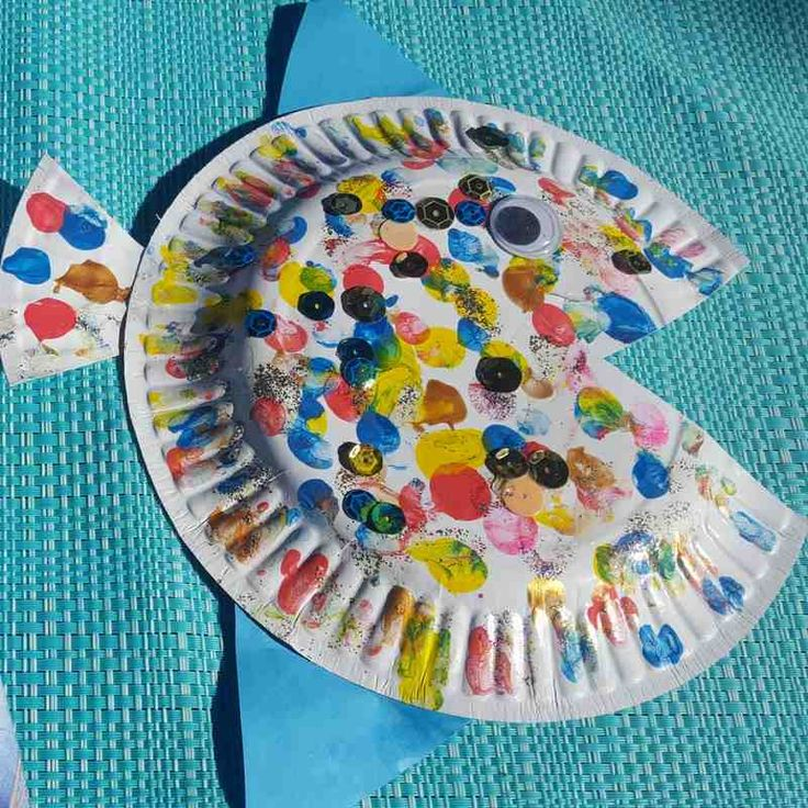 rainbow fish paper plate craft square
