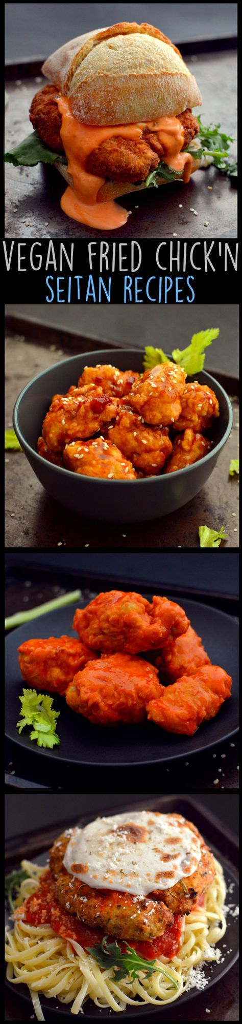 4 Vegan Fried Chicken Recipes - Seitan - Buffalo Wings, Spicy Chicken Sandwich, Chinese Food, Parmesan - Wheat Meat - Soy Free - Rich Bitch Cooking Blog