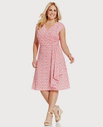 Modernos Vestidos de moda para Gorditas | Vestidos de Gorditas 2015 plus size wrap front dress floral