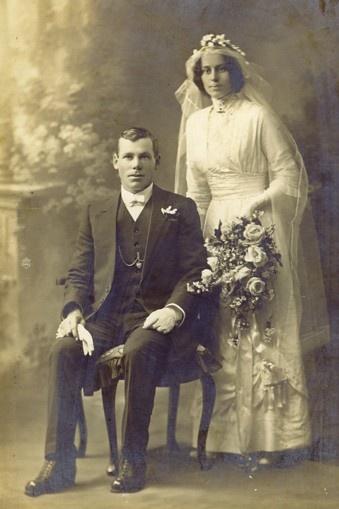 Wedding photo, 14 Oct 1914.