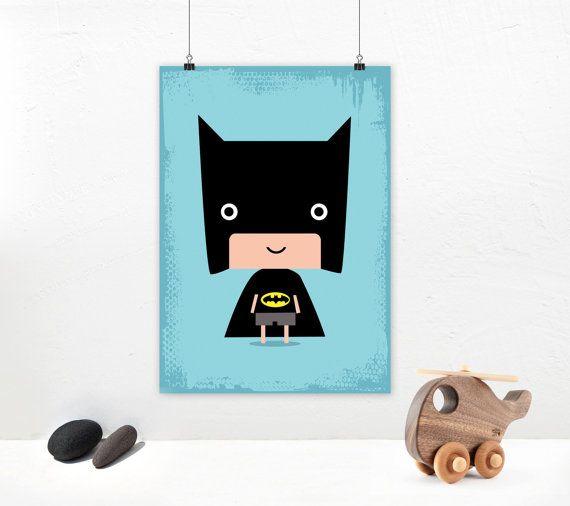 Poster print wall art. Batman Superhero by PenguinGraphics on Etsy