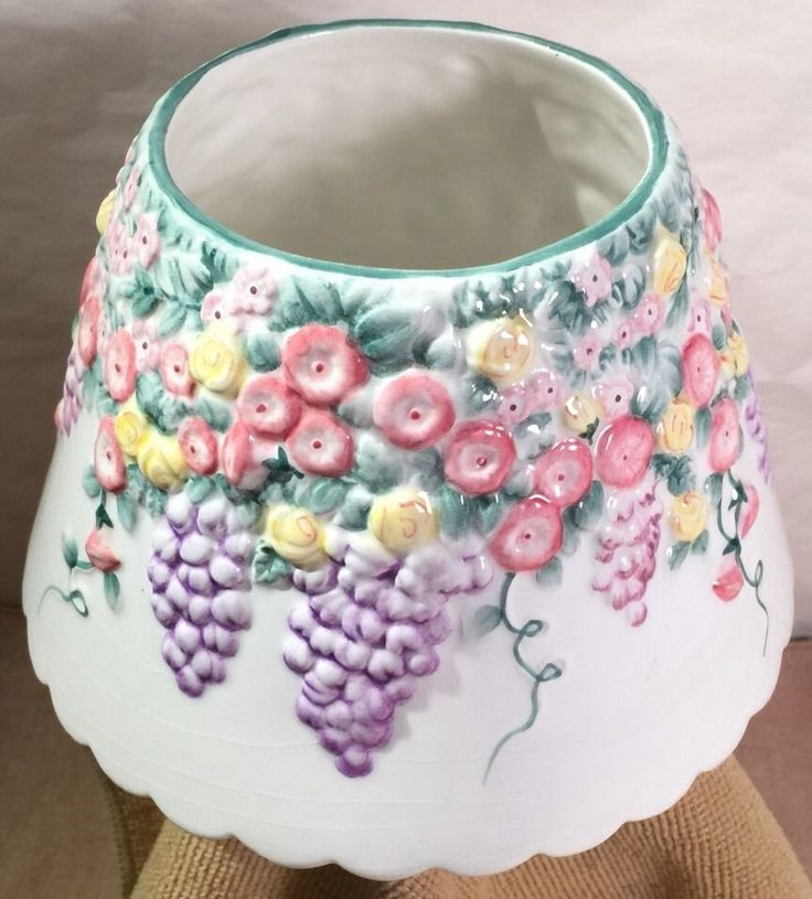 Yankee Candle Ceramic Lilacs and Spring Flowers Floral Large Jar Topper Shade    #YankeeCandle #SpringFloral