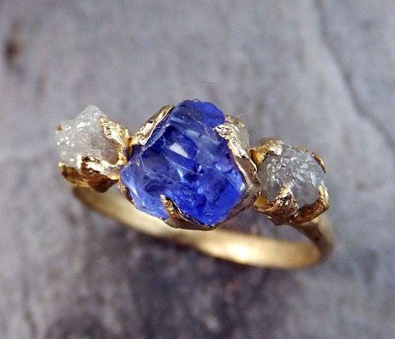 Raw Diamond Tanzanite Gemstone 14k Gold Engagement by byAngeline