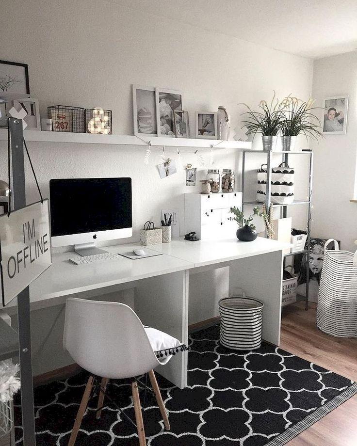 34 Cozy Monochrome Home Office Decor Ideas in 2019 Home