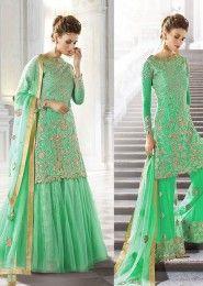 Wedding Wear Georgette Mint Embroidered Work Anarkali Suit