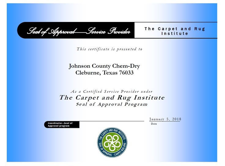 The ONLY CRI Certified Carpet Cleaner in Johnson County, TX!  Johnson County Chem-Dry is the ONLY Local Certified Service Provider under the Carpet and Rug Institute (CRI - http://www.carpet-rug.org/) Seal of Approval Program.  Call Us Today! 817-558-3113.  #carpetcleaning, #carpetcleaner, #kidsafe, #petsafe, #greenclean, #healthyhome, #rugcleaner, #mattressclean, #granitecleaning, #tilecleaning, #waterdamage