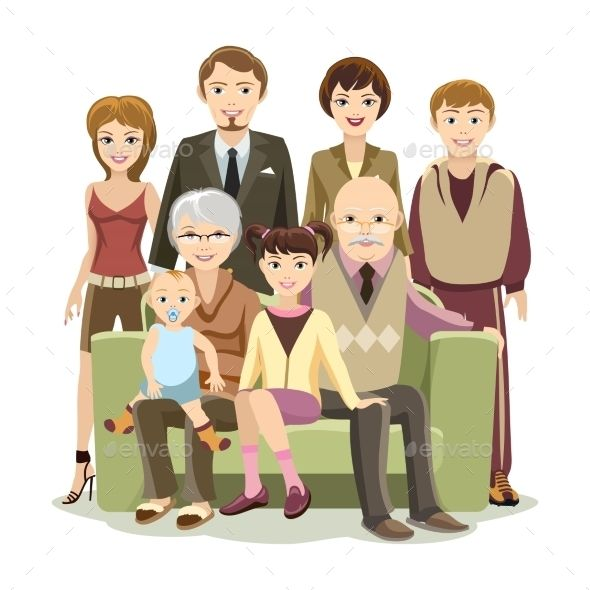 Cartooned Big Happy Family At The Sofa