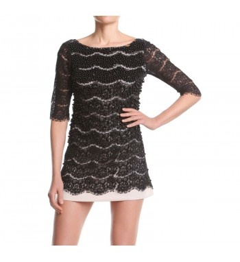"""Double lace """"A"""" shaped dress, 3/4 sleeves handcrafted embroidery with black different dimensions pearls shading from top to  bottom. http://shop.mangano.com/it/donna/16366-abito-sixties-perle-nero-nudo.html  #pearls #apparel #clothing #woman #black #mangano"""