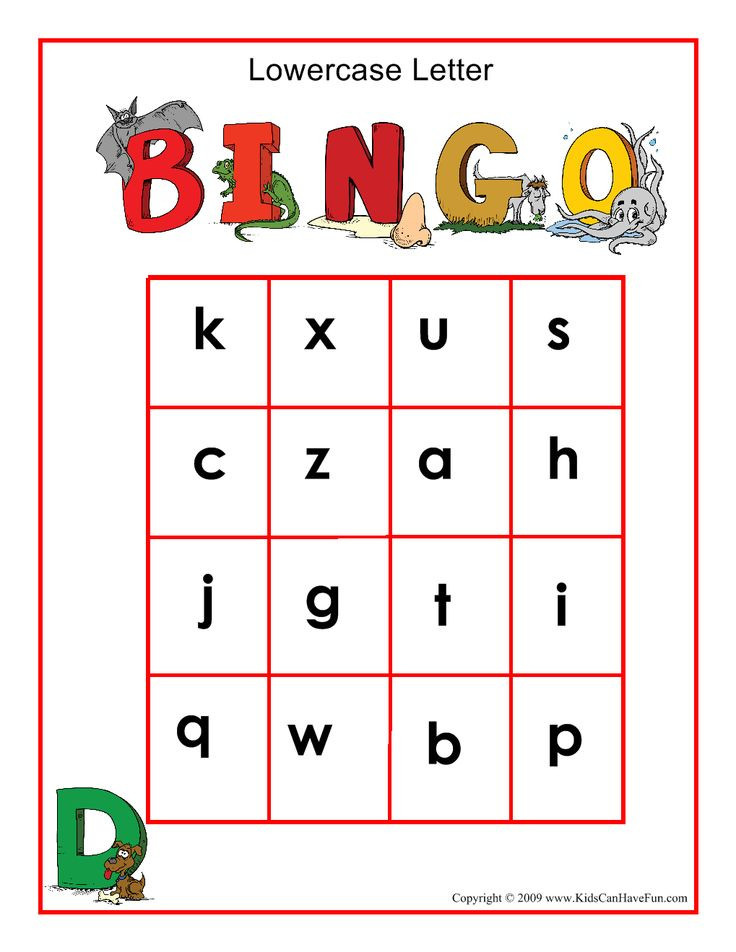 Lowercase Letters BINGO game