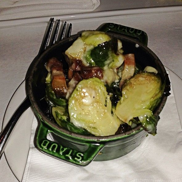 brussel sprouts brie u0026 smoked pork belly in staub mini cocotte at the gage