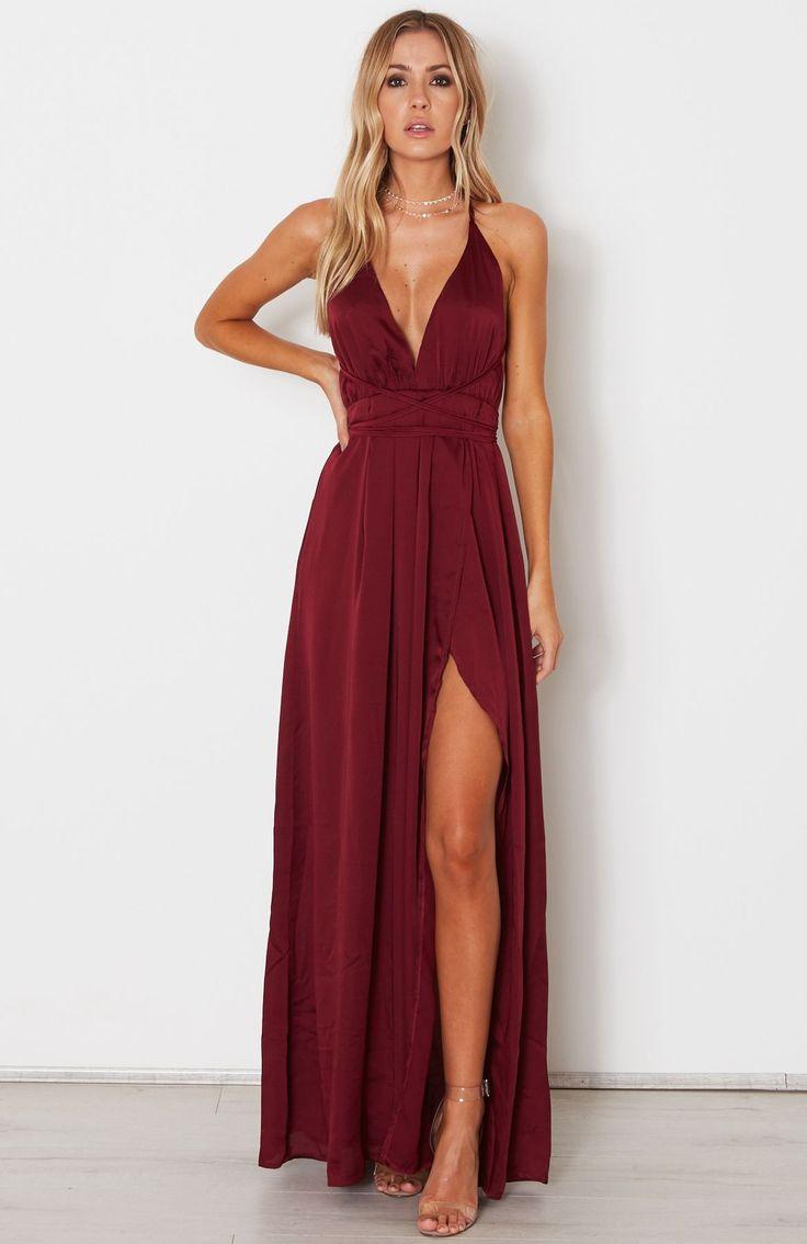 Halter Neck Straps Deep V Neck Burgundy Prom Dresses With High Side Split, Sexy Chiffon Maxi Dress