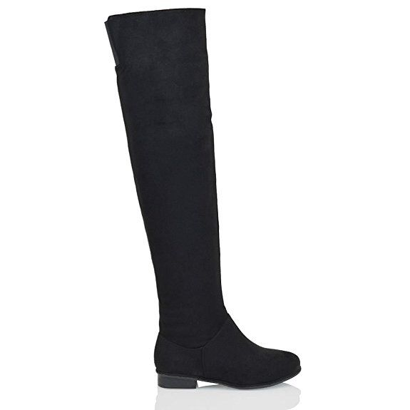 Essex Glam Damen über dem Knie hohen Flache Veloursleder-optik Oberschenkellange Stiefel: Amazon.de: Schuhe & Handtaschen