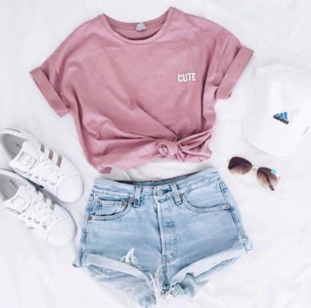Shirt: t-shirt, pink, cute, adidas superstars, adidas, cap, outfit, summer, pink t-shirt, pink top, crop tops, instagram, shorts, pastel pink, hat, top, shoes, adidas shoes, causal shoes, sneakers, running, running shoes, white, gold, adidas originals, sunglasses, short shorts, light blue, girly - Wheretoget
