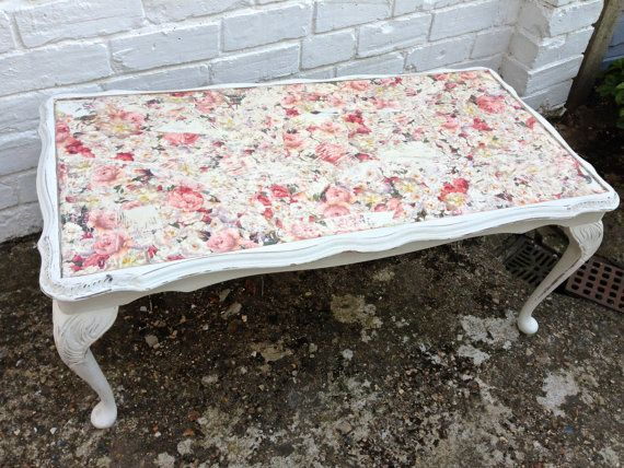 Upcycled Victorian Rectangular Coffee Table w Rose Decoupage and Shabby Chic Finish on Etsy, £185.00